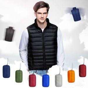 2019 New Arrival Brand Men Packable Sleeveless Stand Up Collar Jacket Winter Ultralight White Duck Down Vest Male Windproof Warm Waistcoat