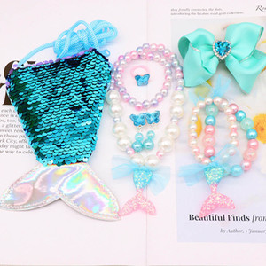 Mermaid sequin meninas colares arcos de cabelo grampos de cabelo + colares + pulseira + Brincos + Sacos bolsas + Anéis 6pcs / set meninas A8585 jóias crianças presente