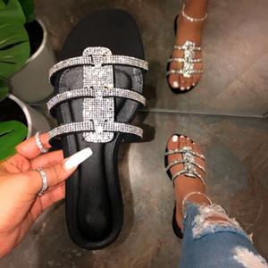LOOZYKIT Yeni Rhinestone Kadınlar Terlik 2020 Yaz Moda Düz Bling Kristal Ladies Beach Terlik Bayan Açık Günlük Ayakkabılar