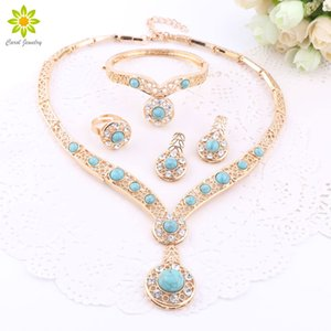 African Beads Gold Color Nigerian Wedding Jewelry Sets Crystal Bracelet Earring Ring Jewelry Sets 3Color