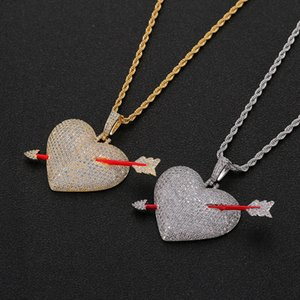 Iced out Arrow Through Heart Colar Pingente Com Corda Cadeia Cor Do Ouro Bling Cubic Zircon Homens Hip hop Jóias
