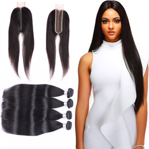 Brazilian Virgin Hair Extensions 8-30inch Human Hair 4 Bundles With 2X6 Lace Closure Straight Hair Wefts With 2*6 Closure Middle Part