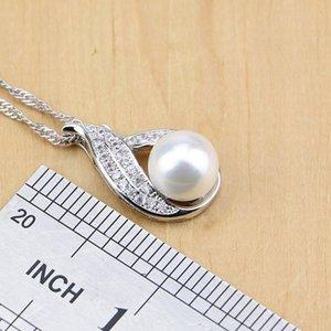 925 Silber Brautschmucksachen stellen natürliche weiße Zircon mit Perlen Perlen für Frauen Hochzeit Ohrringe / Anhänger / Halskette / Ring / Armband