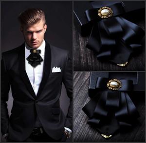 i-Remiel britânica Estilo Multi-camada de tecido laço do casamento do noivo Collar Formal Vestido camisa gravata Cravat roupa