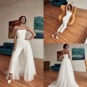 Fashion Strapless Wedding Jumpsuit with Detachable Train 2020 Summer Holiday Beach Bohemian Bride Dress with Pant Suit Vestidos De Novia