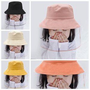 Protección a prueba de polvo cubren la cara con sombreros de cubo Hatouble-sided Sombrero del partido con desmontable Pantalla Protectora Cara máscara transparente para niños RA3251