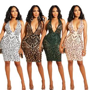 Sexy col en V profond Womens Robes Casual Mode Paillettes manches Femmes Robes Designer Femmes Vêtements décontractés