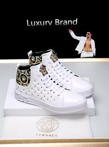 Versace novo estilo da marca de personalidade homens 2019p verão s high-top botas casuais de alta qualidade moda selvagem lace-up tamanho sneakers: 38-44