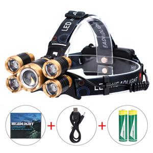 5 المصابيح السوبر مشرق LED للمصابيح الأمامية T6 + 4 X Q5 الصمام العلوي 4 تبديل طرق الصيد مصباح للماء العلوي التخييم المشي لمسافات طويلة رئيس الشعلة