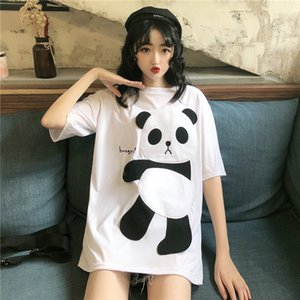 Cute Panda Women's Short Sleeve T-shirt Summer Cartoon Party T Shirt for Girls Loose Fashion Casual Printed Tops White Black