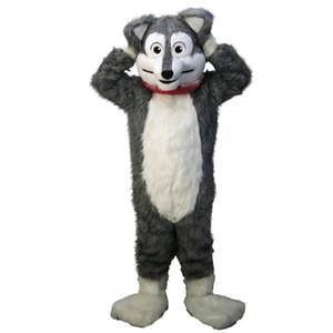 Long gray husky wolf Mascot Costume Cartoon Character Adult Size high quality Longteng (TM) 0324