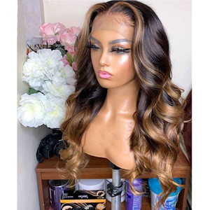 Brazilian Virgin Human Hair Lace Front Human Hair Wigs Pre Plucked With Baby Hair Loose Wave Highlights Wig Ombre Honey Blonde Color