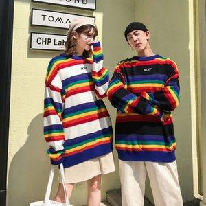 Las mujeres del arco iris suéter rayado Imprimir Loose Manga larga de cuello redondo suéter Pares ocasionales suéter sutumn primavera