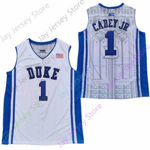 2020 Новый NCAA Duke Blue Devils Джерси 1 Вернон Carey Jr Баскетбол Джерси Колледж Белый Размер Мужчины Молодежь Adult Все прошитой