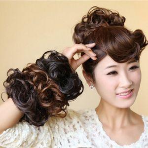 Women Tiara Satin Curly Messy Wavy Hair Bun Extension Elastic Hair Tie Hairpiece Wig Bands Fashion Scrunchie S1954