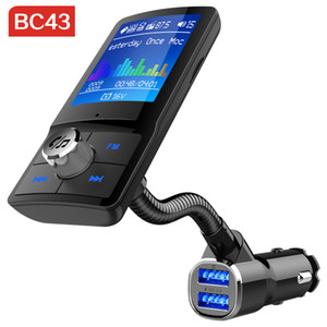 BC43 Trasmettitore FM Bluetooth Audio Caricatore USB QC3.0 Lettore Mp3 Kit vivavoce per auto Bluetooth vivavoce per auto con display LCD