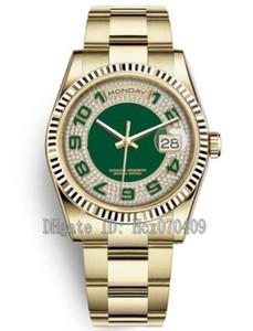 Mens 36 milímetros 18kt ouro amarelo 118238 Diamante verde discar relógios Dia Data presidente Asia 2813 Homens do Automatic