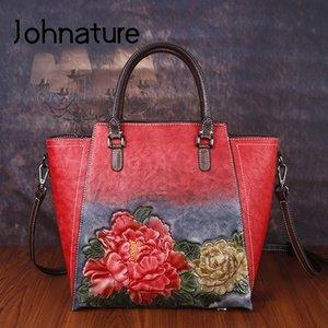 Johnature Handmade Embossing Luxo Sacos Bolsas Mulheres Designer 2020 New grande capacidade Vintage Lady Shouldercrossbody Bags