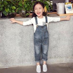 Kız bebekler tulumları İlkbahar Sonbahar Denim Jumpsuit Kore Stili Uzun Kot Casual Yıkanmış tulum Cep Düğme askı Pantolon Casual Jeans