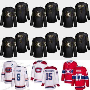 2019 Oro Nero Montreal Canadiens 1 Jacques Plante 2 Doug Harvey 3 Emile Bouchard 4 Doug Harvey 6 Shea Weber 5 Guy Lapointe Maglie