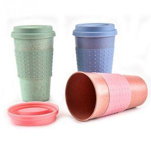Yeni Buğday Samanı Plastik Kahve Fincanları Seyahat Kahve Kupa Kapaklı Seyahat için Kolay Gitmek Fincan Taşınabilir Açık Kamp Yürüyüş Piknik