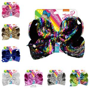 8 pouces Jojo Glitter sirène flip sequin Big Bow Hairpin Baby Girls Gradient Paillette Barrettes enfants Bling Accessoires cheveux Barrette A21503