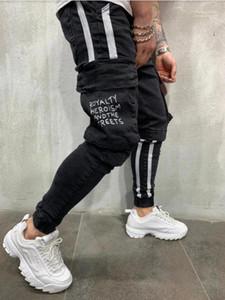 Große Taschen Herren Jeans Frühling und Herbst Mode Bleistift Pantalones Hose Schwarz