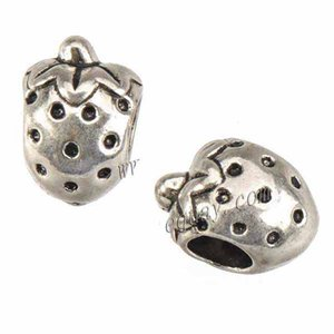 Jewelry Findings Slider Beads Charms Bracelet DIY Large Hole Antique Silver Strawberry Wholesales Metal Fashion New 12*8*8mm 200pcs