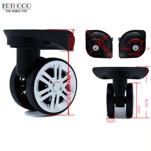 Бесшумные двухрядные большие колеса замена багажных колес для чемоданов ремонт тележка рицинус колеса запчасти тележка черная резина A19