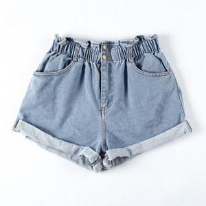 2019 nouvelle mode haute été femme occasionnels classiques Hot Shorts femme lâche Waisted femael ruché Stone Wash Denim Hot court