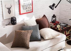 Cas de couverture pur confortable oreiller de couleur coussin tricot doux pillowslip pour la décoration canapé à la maison 5 fournitures de literie de couleur