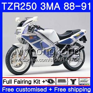 Cuerpo blanco azul caliente Para YAMAHA TZR250RR RS RR YPVS TZR250 88 89 90 91 244HM.20 TZR-250 TZR250 3MA TZR 250 1988 1989 1990 1991 Kit de carenado