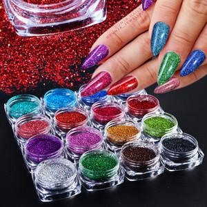 Laser Glitter 1 g Holographic Nail Art Tremper Poudre Chrome Gel Polish poussière Brillant Miroir Pigment Paillettes Manucure Décor