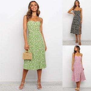 Moda Tasarımı Papatya Elbiseler 2020 Kadın Kolsuz Baskı Midi Seksi Bölünmüş Wrap Elbise Backless vestidos Çiçek Elbiseler