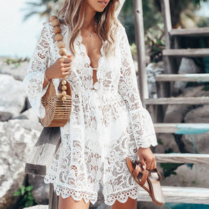 2019 New Verão Mulheres Bikini Cover Up Floral Lace oco Crochet Swimsuit Cover-Ups Terno Beachwear Túnica Beach Dress Hot