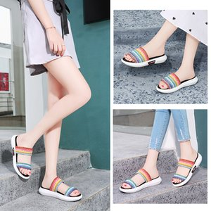 2020 Rainbow bright pink women's sandals summer outdoor leisure shoes girl beautiful party date versatile home 36-40
