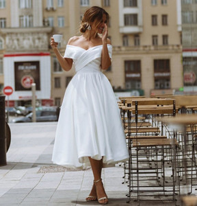 Simple Tea-length Wedding Dress Off the shoulder White  Ivory Satin A-line Short Bride Gowns Beach Back Laing Wedding Gown