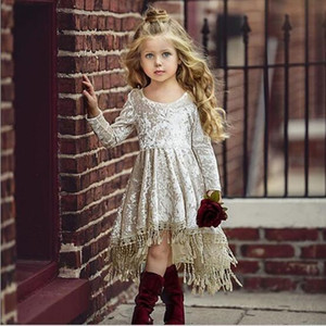 Kids Designer Clothes Girls Dress Summer Round Collar Short Sleeve Pleuche with Tassel Design Girl Dress Kids Clothing Elegant Summer Dress
