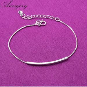 Anenjery modo caldo argento 925 cavigliera braccialetto per le donne Bend tubo dei monili del braccialetto alla caviglia Chian di sicurezza S-B132