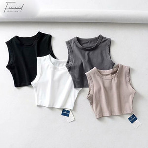 2019 blusas blancas verano mujeres de la vendimia del motorista del punk Negro Sexy sin mangas coreana Streetwear recortada Camisa sin mangas Feminino