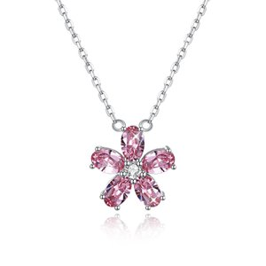 S925 Petal Crystal Necklace, Girls Neckalce for Dating,White Pink Crystal Pandent Necklace