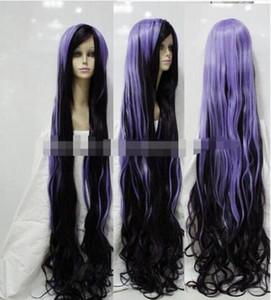 ENVÍO GRATIS + Harajuku púrpura negro mezcla larga y rizada peluca resistente al calor 150cm