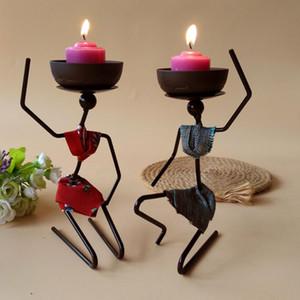 캔들 홀더 아프리카 여성 아이언 설정 tealight 캔들 스탠드 홀더 크리 에이 티브 침실 홈 웨딩 장식 예술 장식 공예