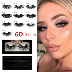 Natural 6D Faux Mink Hair False Eyelashes 25mm Long Lashes Extension Thick Wispy Fluffy Handmade Eye Makeup Tools