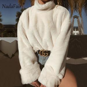 Nadafair Branco Plush Inverno camisola de gola alta Mulheres Outono de manga comprida pele do falso Quente solto camisola Oversized Casual Puxe Femme SH190930