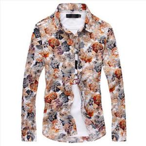 2019 новая мода мужская Цветочная рубашка высокое качество чистого хлопка с длинным рукавом Slim Fit Dress Shirt Азиатский размер M-4XL