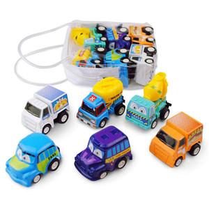 6Pcs / bag Kinderspielzeugauto Mini ziehen Geschenke Auto Simulation Autos Modell Kunststoff ziehen Auto-Kinder Kinder Spielzeug zurück