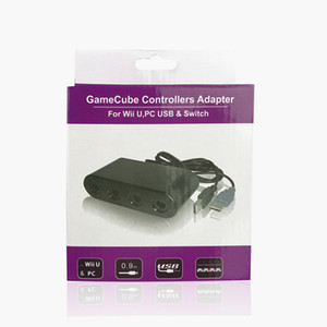 4 Ports GameCube Controller Adapter for Wii U PC USB Switch Game Converter IN retail package 40pcs lot