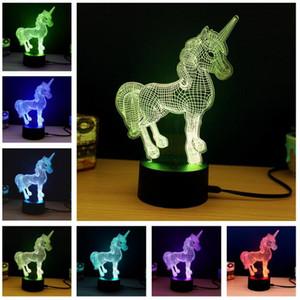 Dropshipping 3D Criativo Luminaria Unicorn LEVOU Candeeiro de Mesa Lanterna 7 Mudança de cor Luz da noite Lampe Levou Luz Dos Desenhos Animados Kid Xmas Presentes de Ano Novo