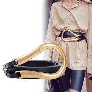 Mode féminine ceinture Grande Boucle en fer à cheval Pu Ceinture en cuir New Punk vent individuel décoratif femmes Ceintures doubles Microfibre